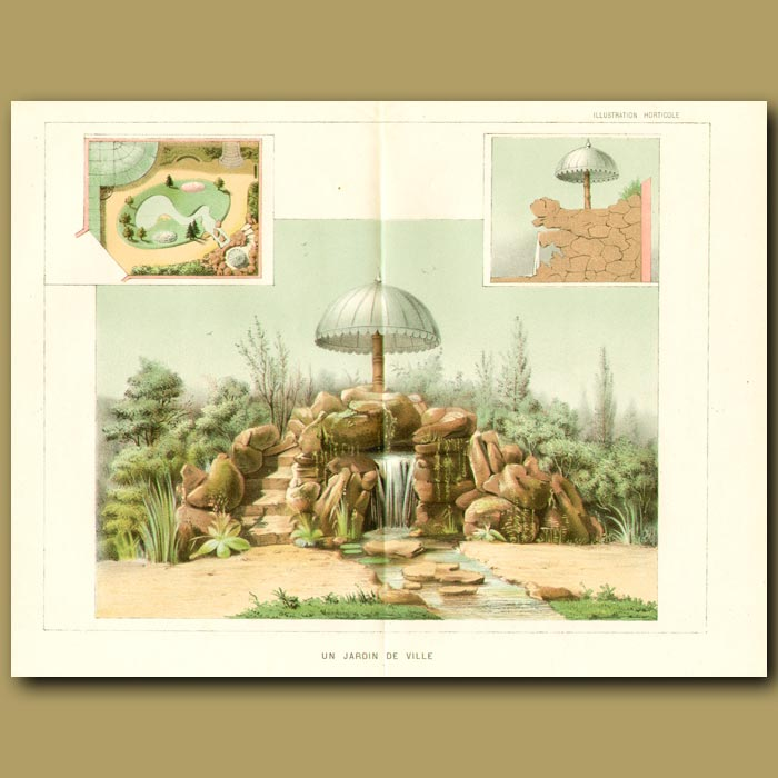 Antique print. Waterfall in the Garden (double sized print)