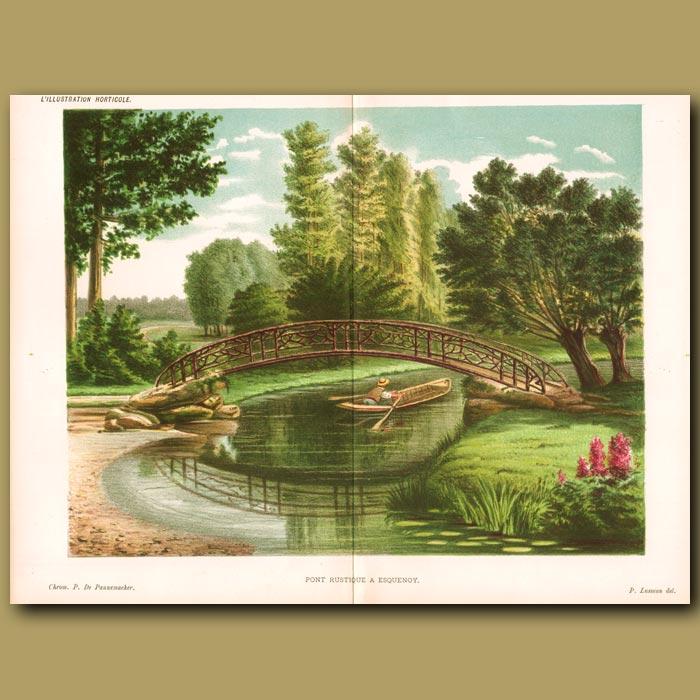 Antique print. Bridge over water (double sized print)