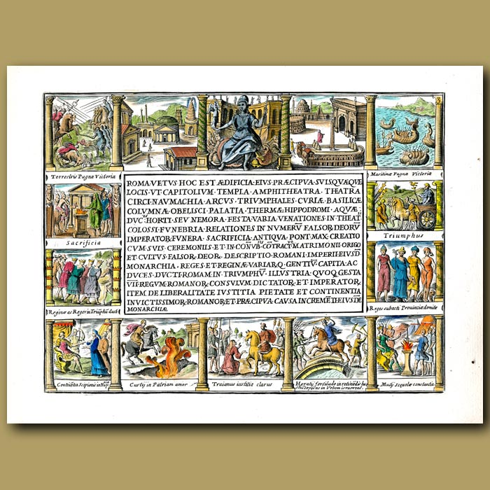 Antique print. Frontispiece depicting the fascinating scenes from ancient Rome