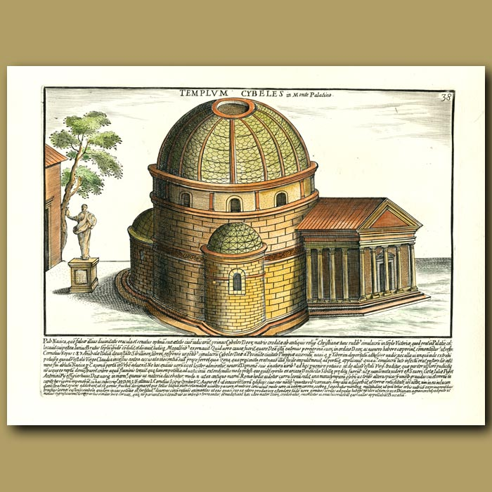 Antique print. The Temple of Goddess Cybeles on Mont Palatino