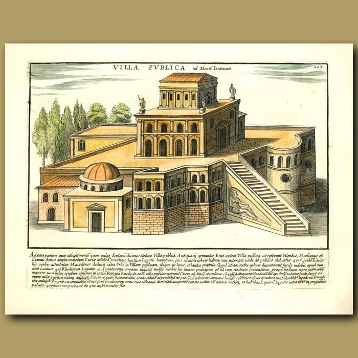 Antique print. Public villa