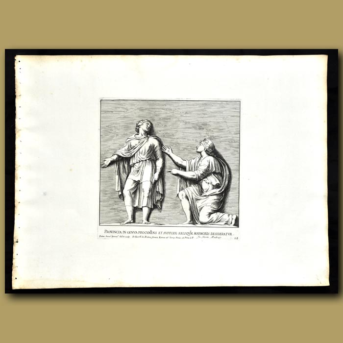 Antique print. Decoration From The Garden Of The Medici