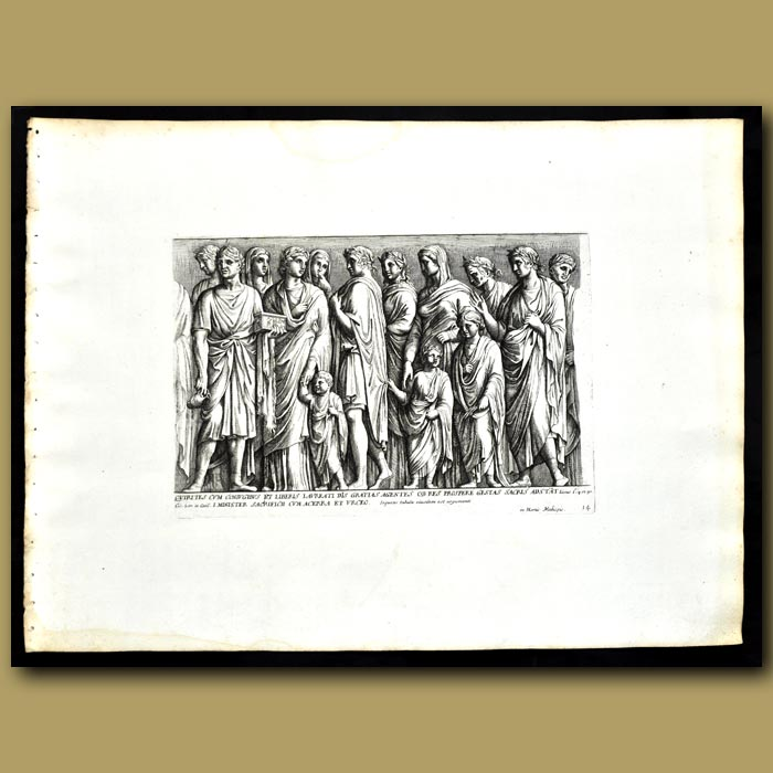 Antique print. Decoration From The Garden Of The Medici - Citizens And Children Giving Thanks To The Gods