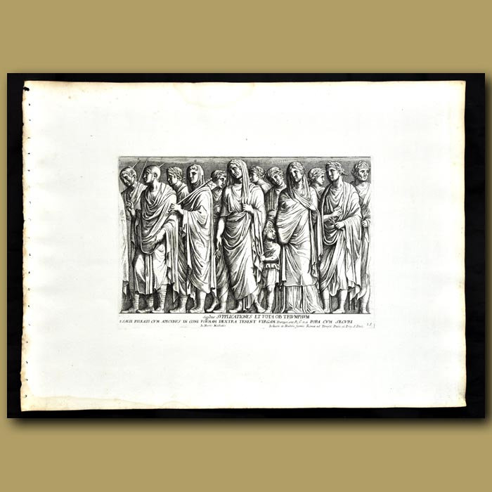 Antique print. Decoration From The Garden Of The Medici - Supplications And Prayers By Men, Women And Children