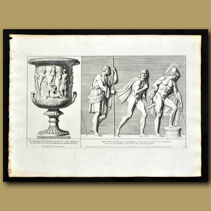 Antique print. Marble Vase Featuring Diana And Frieze Of Greek Heroes