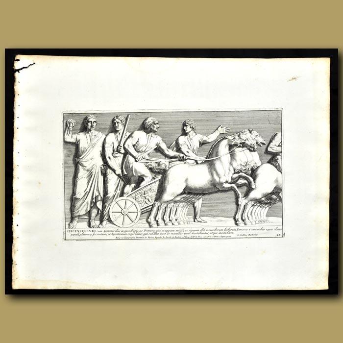Antique print. Frieze Of A Chariot In Temple Baerberinus