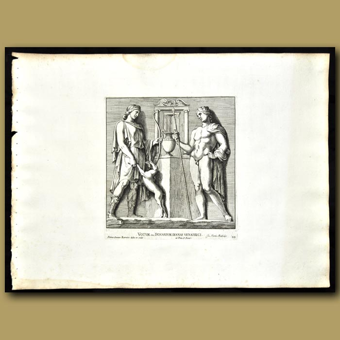 Antique print. Offering To Goddess Diana