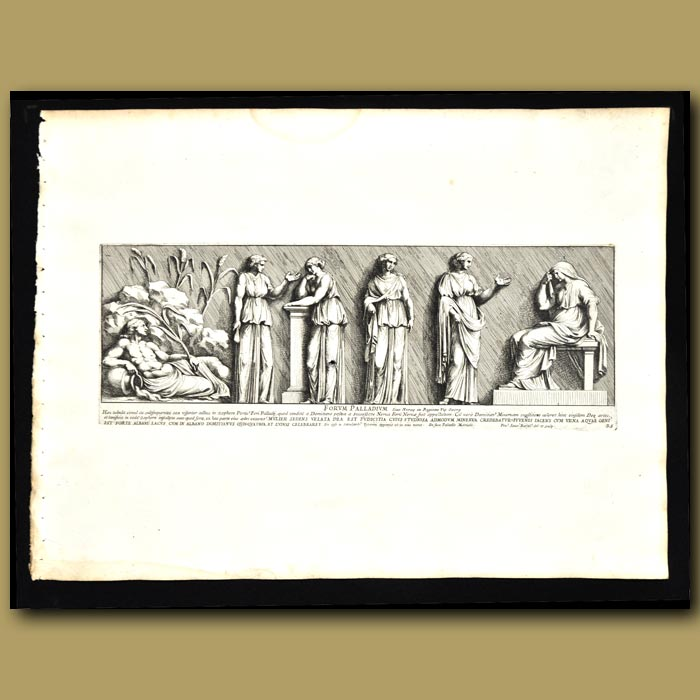 Antique print. Tableau Of Men, Women And Waterfall As Found On An Aquaduct