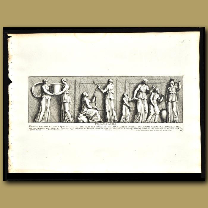 Antique print. Virgin Roman Women And Goddesses