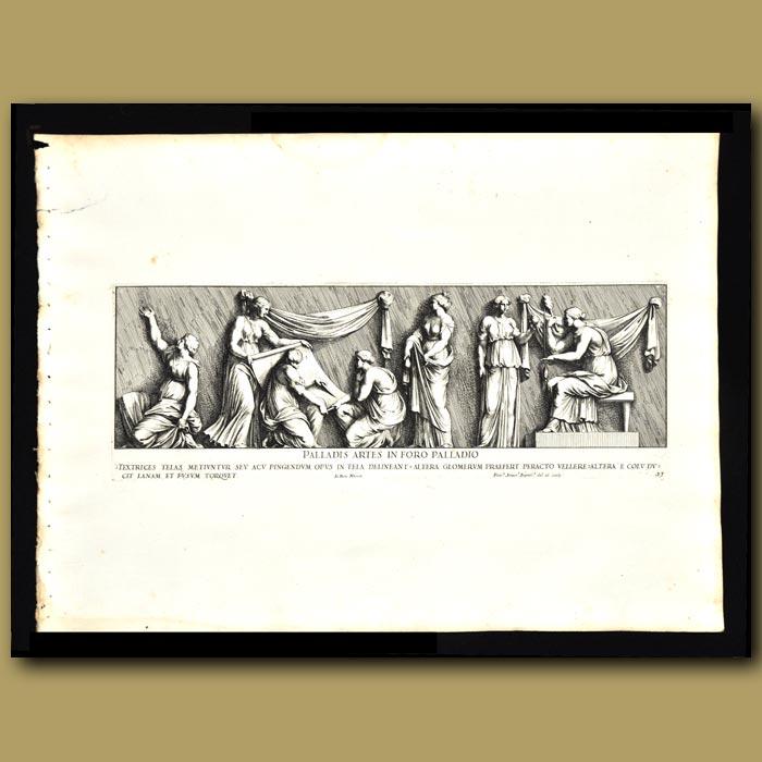 Antique print. Roman Women In The Market