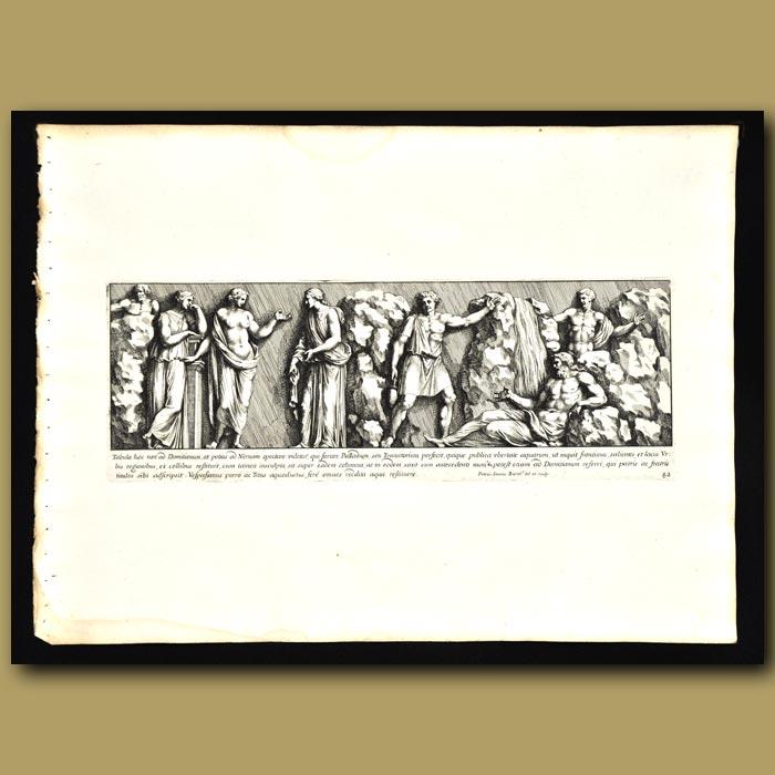 Antique print. Roman Men And Women In A Garden