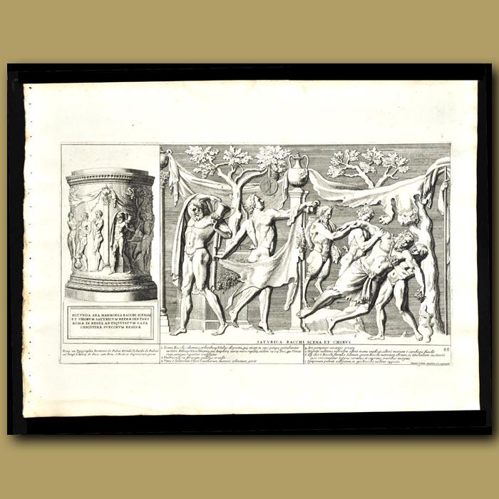 Antique print. Celebration Of Bacchus, God Of Food And Wine