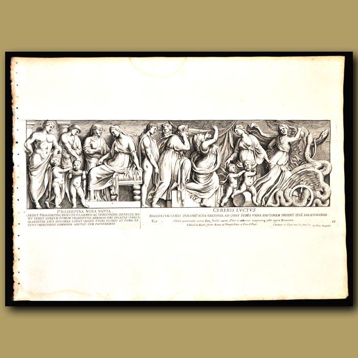 Antique print. Persephone As A New Bride And Goddess Ceres