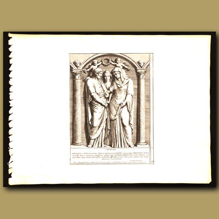 Antique print. Roman Bride And Groom With Wedding Guests