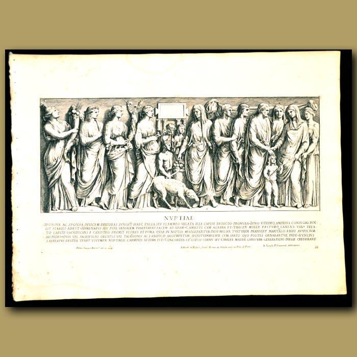 Antique print. Celebrations At A Roman Wedding