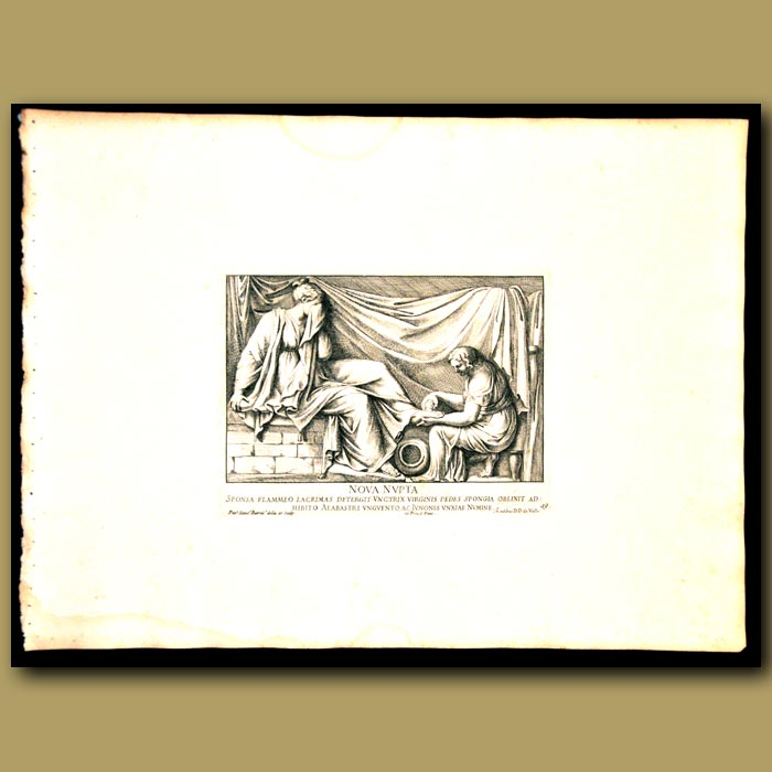 Antique print. The New Virgin Bride Having Her Feet Washed