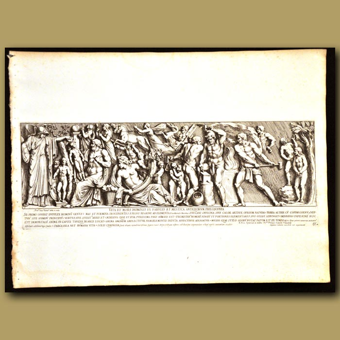 Antique print. The Life Of Man From The Greek Myths With The Horn Of Plenty