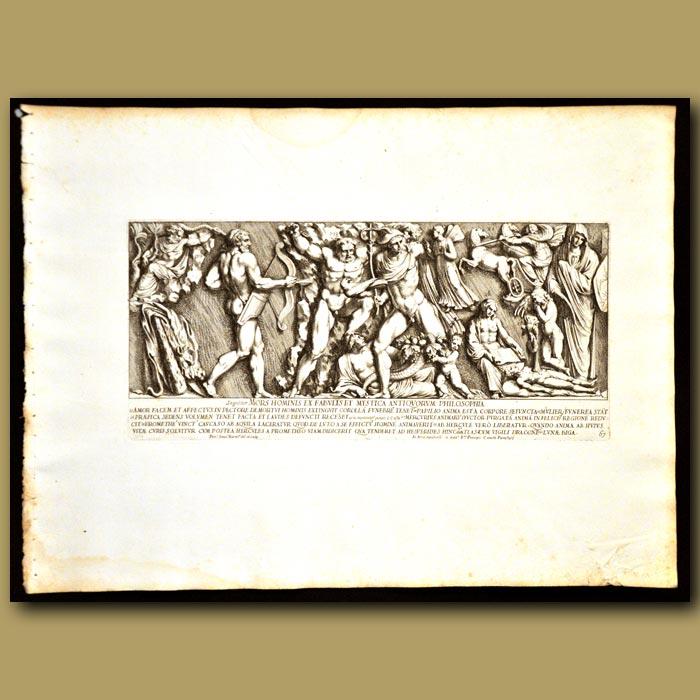 Antique print. Hercules And Mercury In An Epic Scene