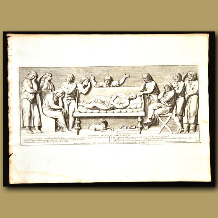 Antique print. Roman Family Scene