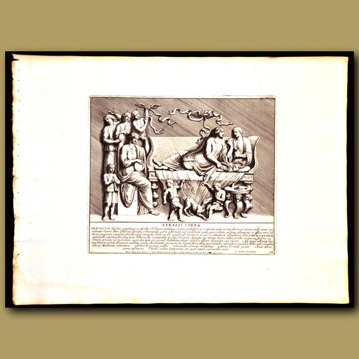 Antique print. Romans Eating And Drinking With Music