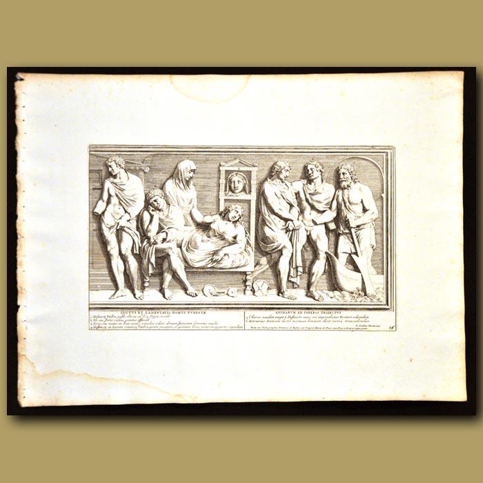 Antique print. Roman Family