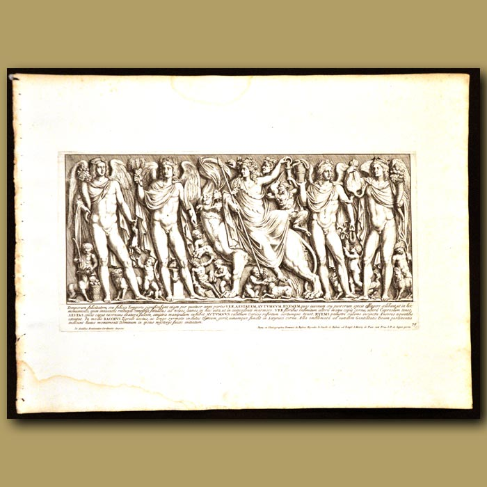 Antique print. Four Seasons Of The Year With Bacchus On A Tiger