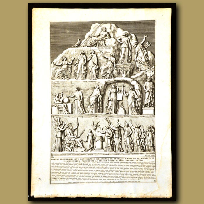 Antique print. Homer And Important Leaders Carved In Marble