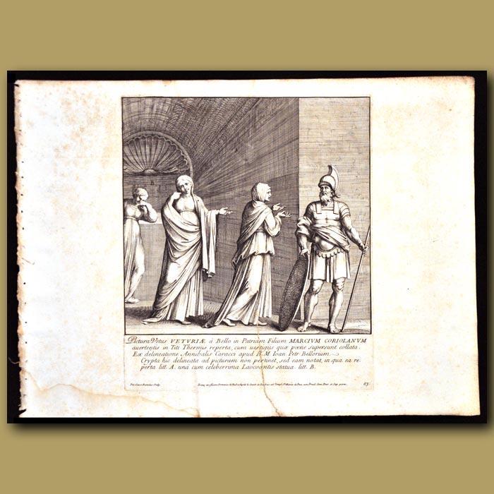 Antique print. Roman Soldier At The Baths Of Titus