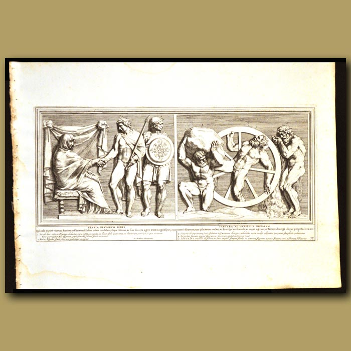 Antique print. Seat Of The Blessed And Punishment Of The Wicked