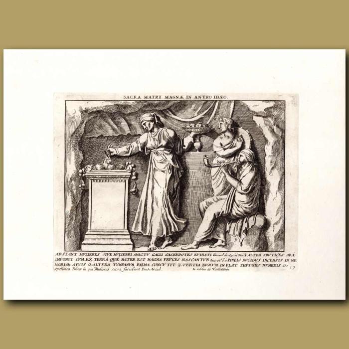 Antique print. Sacred mother: Sacra matri magnae in antro idaeo