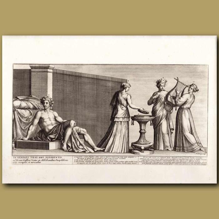 Antique print. Roman Bridegroom's Chamber