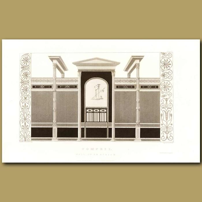 Antique print. Pompeii: Wall Of An Atrium