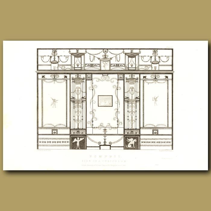 Antique print. Pompeii: Side of a Cubiculum