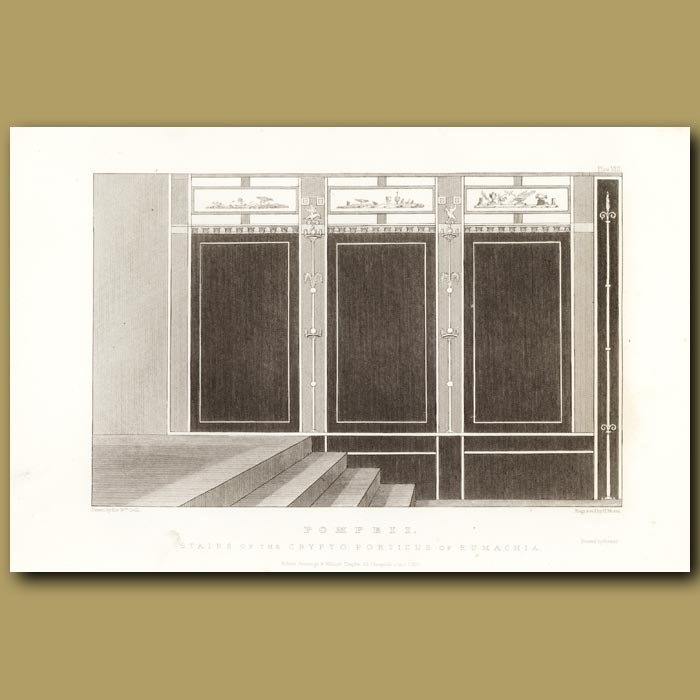 Antique print. Pompeii: Stairs of the Crypto Porticus