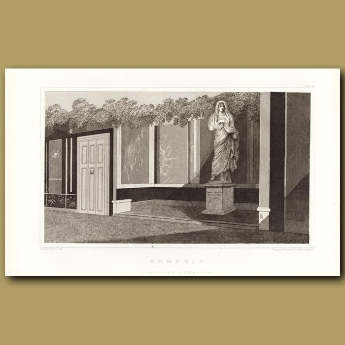 Antique print. Pompeii: Statue of Eumachia