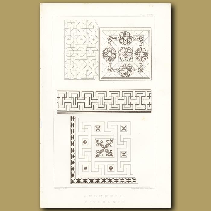 Antique print. Pompeii: Pavement Designs