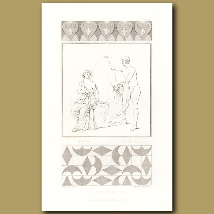Antique print. Pompeii: Aethra and Theseus