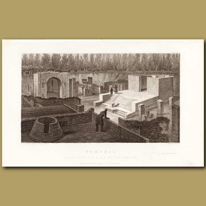 Antique print. Pompeii: View From The Roof Of The Thermae