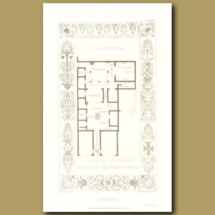 Antique print. Pompeii: House of the Tragic Poet