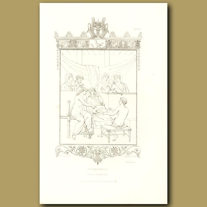 Antique print. Pompeii: Poets Reading