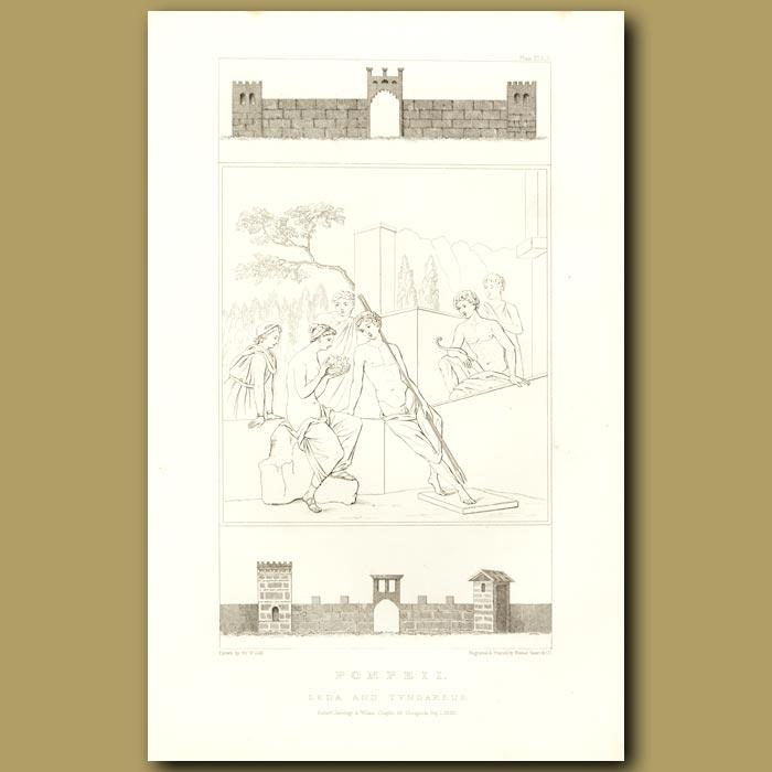 Antique print. Pompeii: Leda and Tyndareus