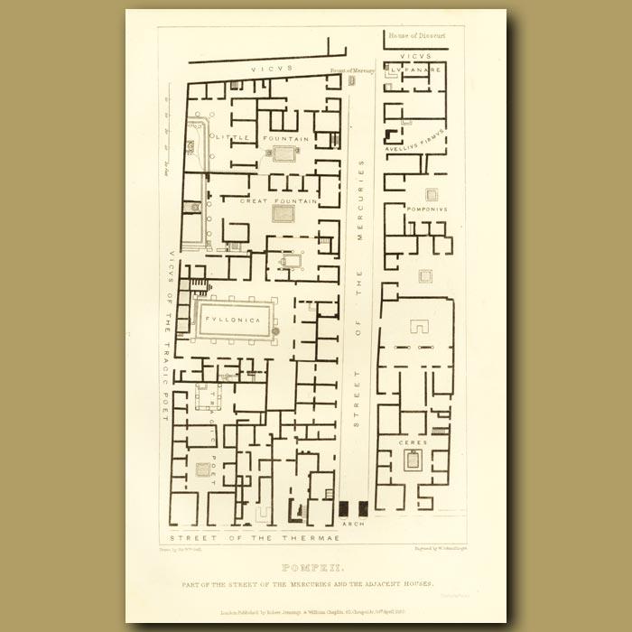 Antique print. Pompeii: Street Map
