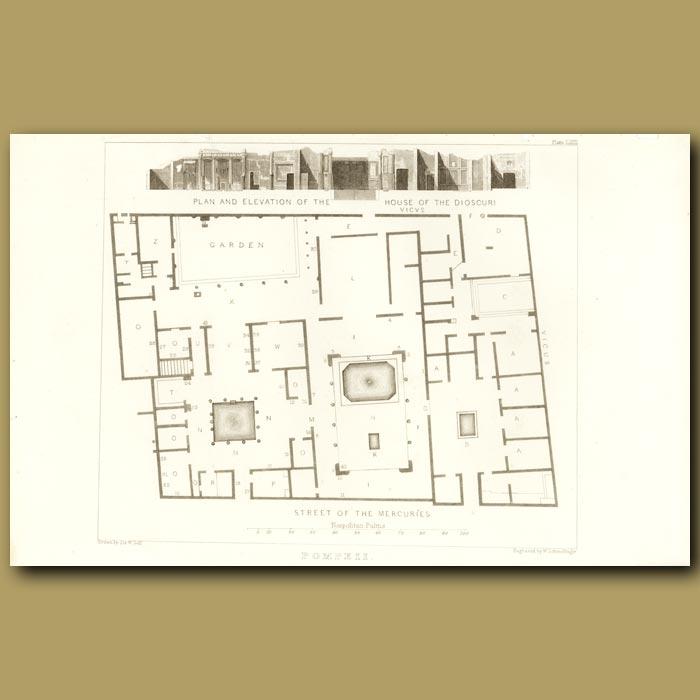 Antique print. Pompeii: Plan of the Street of the Mercuries