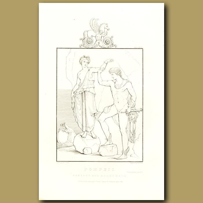 Antique print. Pompeii: Perseus and Andromeda