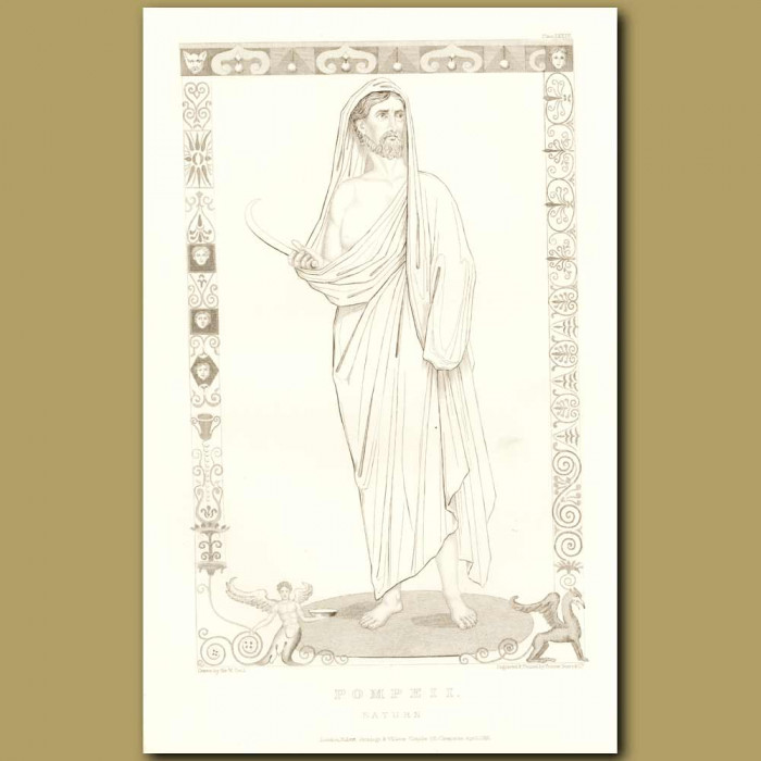Antique print.Pompeii: Roman God Saturn