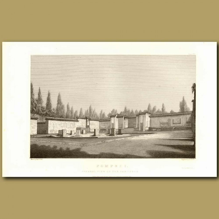 Antique print. Pompeii: General View Of The Pantheon