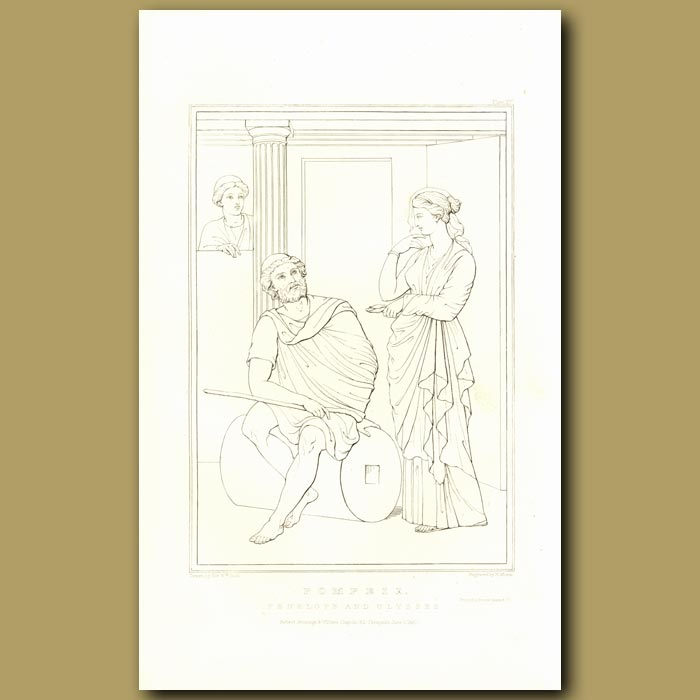 Antique print. Pompeii: Penelope and Ulysses