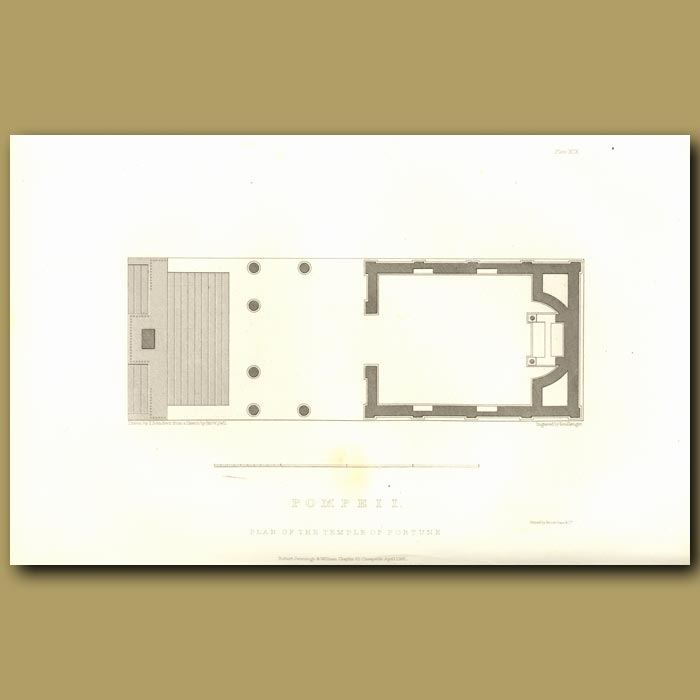 Antique print. Pompeii: Plan of the Temple of Fortune