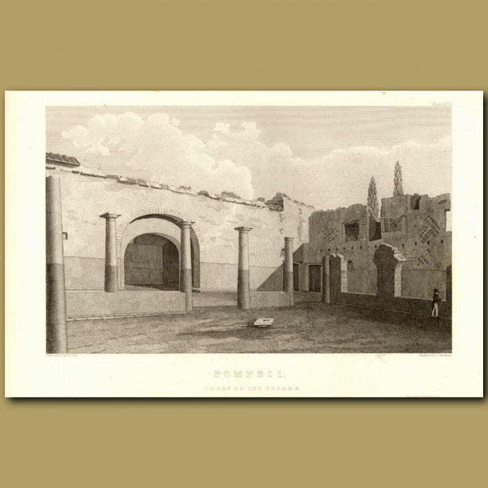 Antique print. Pompeii: Court Of The Thermae