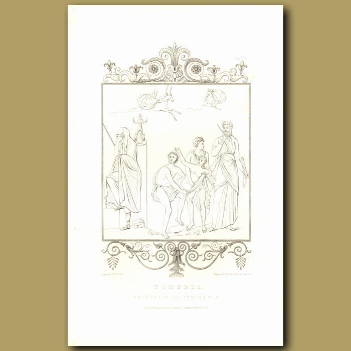 Antique print. Pompeii: Sacrifice of Iphigenia